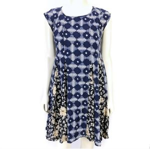 Maeve White and Blue Geo Floral Dress